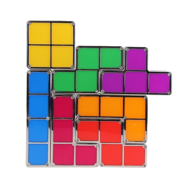 Diy luz conduzida da noite estilo retro jogo empilhável tetris puzzle quebra levou luz lâmpada de parede romântico luz colorida