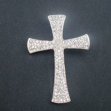 Fashion Brooches Clear Crystal Rhinestone Cross Costume Brooch Pin Pendant Exquisite Jewelry Champagne Golden Item NO