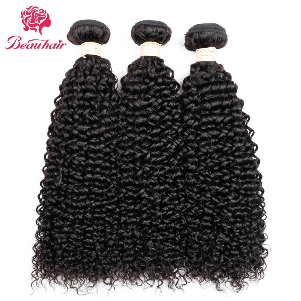 Beau Hair Afro Kinky Curly Hair Weave Human Hair Bundles Peruvian Hair Extensions Non Remy Hair Natural Color 3PCS 10-26inch