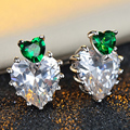 Green love heart CZ Diamond Earrings exquisite fashion jewelry with