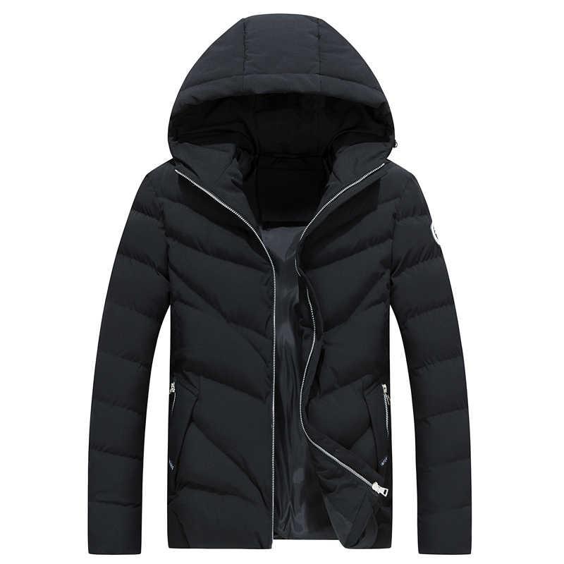 Mode Baumwolle Jacke Winter 2019 Neue Casual Warmen Dicken Kapuze Windjacke Oberbekleidung Parka College Streetwear Mantel Mantel Männlich