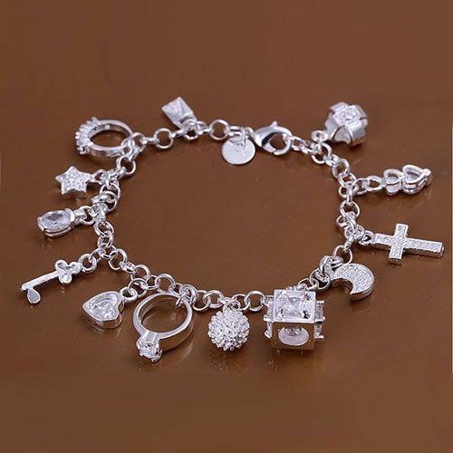 Х144 925 бесплатнаа доставка сребрна наруквица, 925 Бесплатна достава сребрни модни накит 13 Привјесци наруквица / акхајооа атвајлца