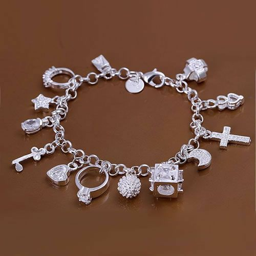 H144 925 βραχιόλι ασήμι δωρεάν αποστολή, 925 δωρεάν κοσμήματα μόδας κοσμήματα ασημένια 13 βραχιόλια μενταγιόν / axhajooa atvajlca
