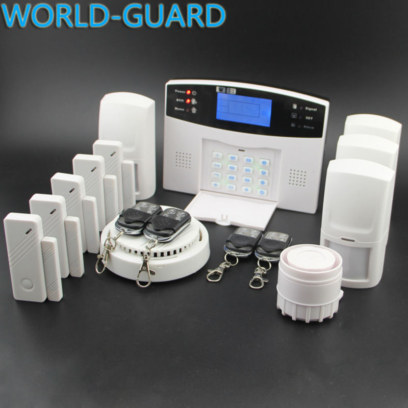 Free shipping Russian, Spainish, Italian, English, French,Czech Voice  Wireless Home security alarm GSM alarm system+fire Senor