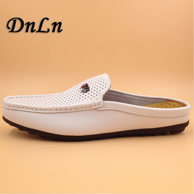 Breathable Loafers Flat Shoes Casual Mens Half Slipper Shoes Slip On Summer Shoes Men Luxury D30 new black embroidery loafers men luxury velvet smoking slippers british mens casual boat shoes slip on flat shoes espadrilles