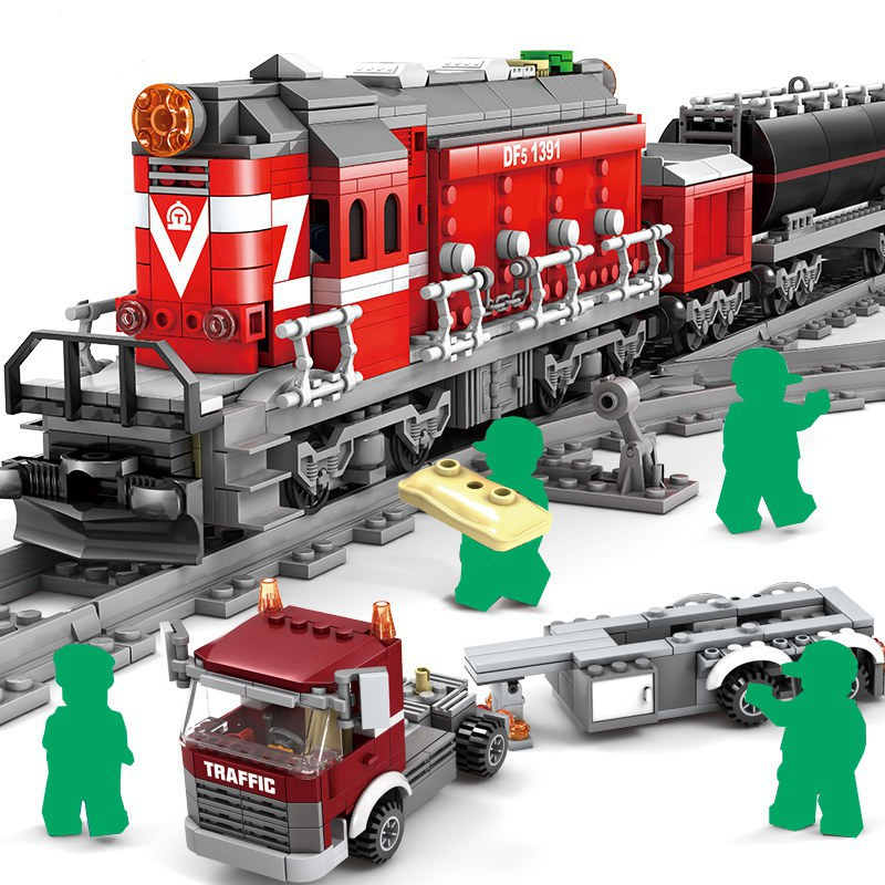 KAZI Battery Powered Electric City Train Rail Cargo Set Building Blocks Bricks Christmas Gift DIY Toys