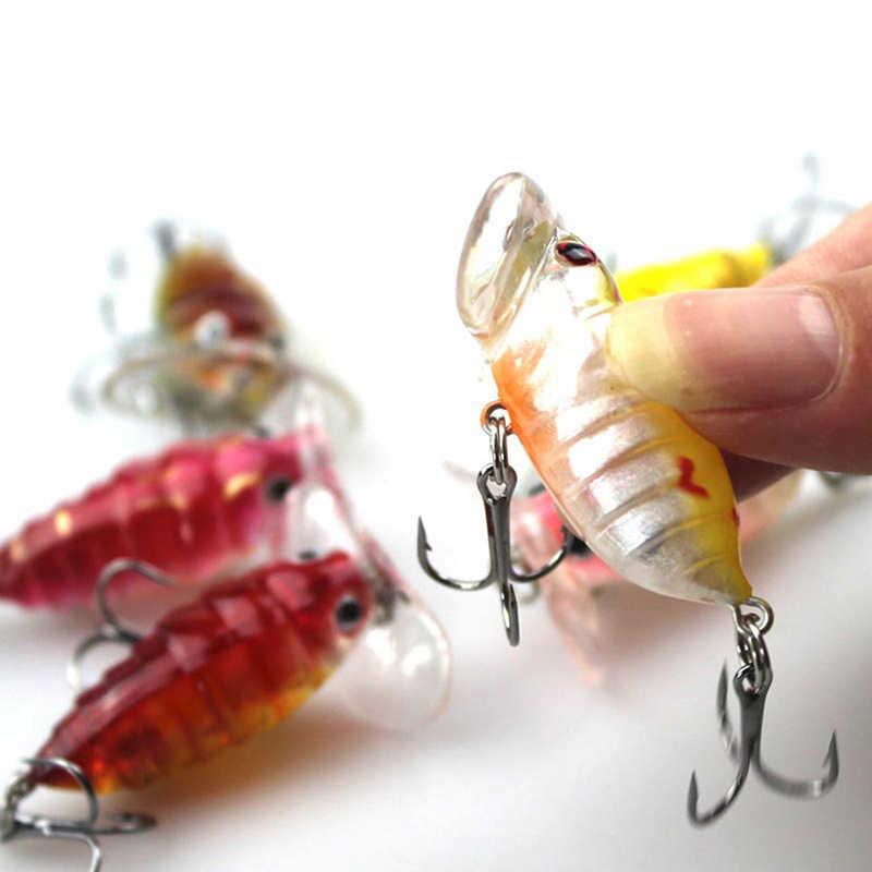 Mới 2017 Nhét Mồi Dụ Cá Wobber Pesca Nhân Tạo Mồi 4 Cm 4.2G Dẫn Mồi Cá Đuôi Đỏ móc Treble KC001