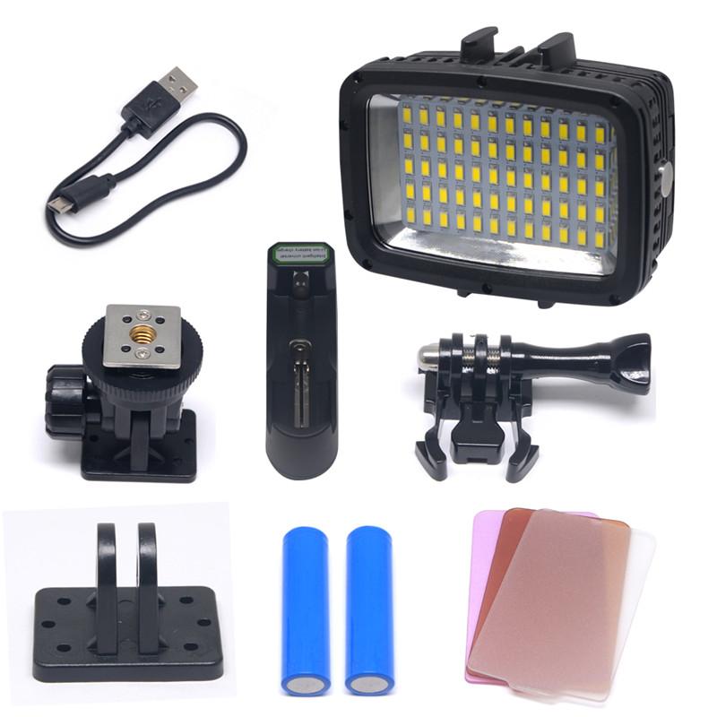 Prix pour Mcoplus le-60y étanche vidéo led lumière sous-marine 40 m 1800lm 60 pcs plongée lampe pour dv dslr gopro xiaoyi sjcam hero caméras