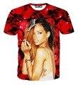 new fashion women 3d t-shirts Rihanna t shirt printed red roses camisetas mujer sexy tshirts tops summer tees clothes