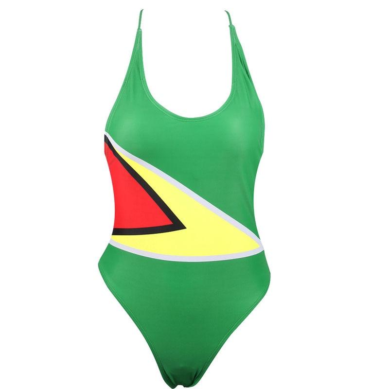 FASSIN Reggae Rasta Flag Lion Ladies One Piece Beach Swimwear Elastic Bathing Suit