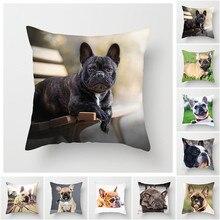 Fuwatacchi Dog Printed Throw Pillows Cushion Cover Animal Pillow Cover Bulldog Decorative Pillowcase for Home Sofa 2019 45*45cm цены