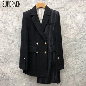 Женский Асимметричный костюм SuperAen, асимметричная двубортная куртка в полоску, осень-весна 2019
