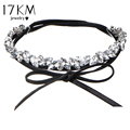 17KM Fashion Jewelry Layer Collar Crystal Flower Choker Necklace Bow Pendant Leather Chokers Long Tassel Statement Collier
