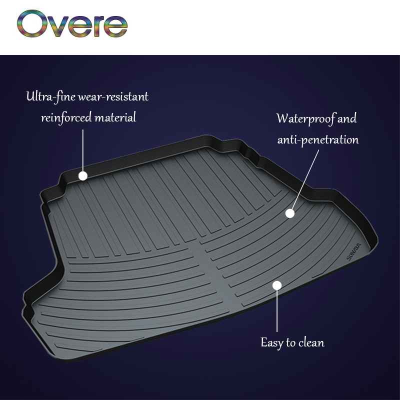 Overe 1Set Car Cargo rear trunk mat For Hyundai ix25 ix35 ix45 Santa Fe Tucson Sonata Elantra Anti-slip Boot Liner Accessories atreus anti slip car rear trunk floor mat durable carpet for hyundai ix35 creta ix25 santa fe sonata elantra tucson 2018 2017