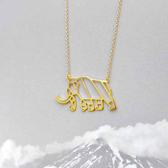 New Trendy Gold And Silver Personalized Mammoth Origami Necklace
