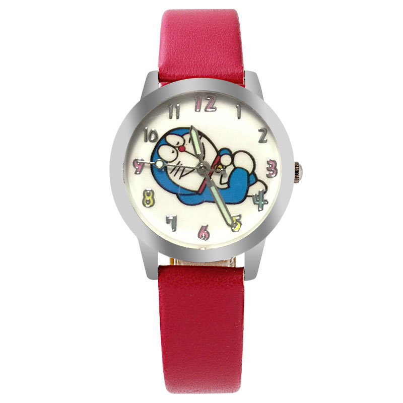New Cartoon PU Leather Strap Children's Watch Cute Cartoon Pattern Machine Jingle Cat Quartz Watch Boys And Girls Wrist Watch