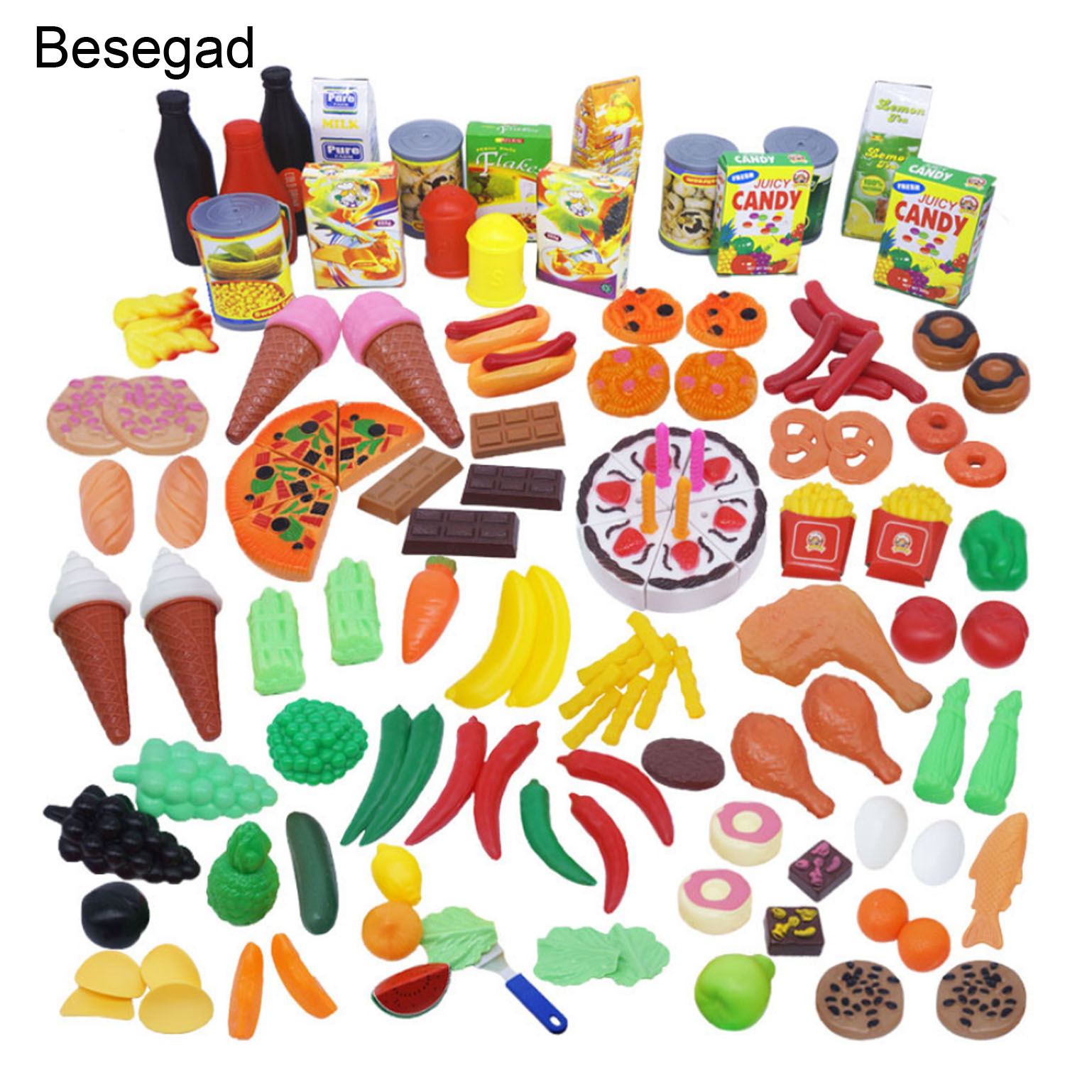 Besegad 130pcs Funny Kitchen Pretend Play Toys Including Fruits Vegetable Desserts For Market Educational Pretend Role Play Toys