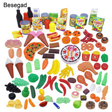 Besegad 130pcs Funny Kitchen Pretend Play Toys Including Fru