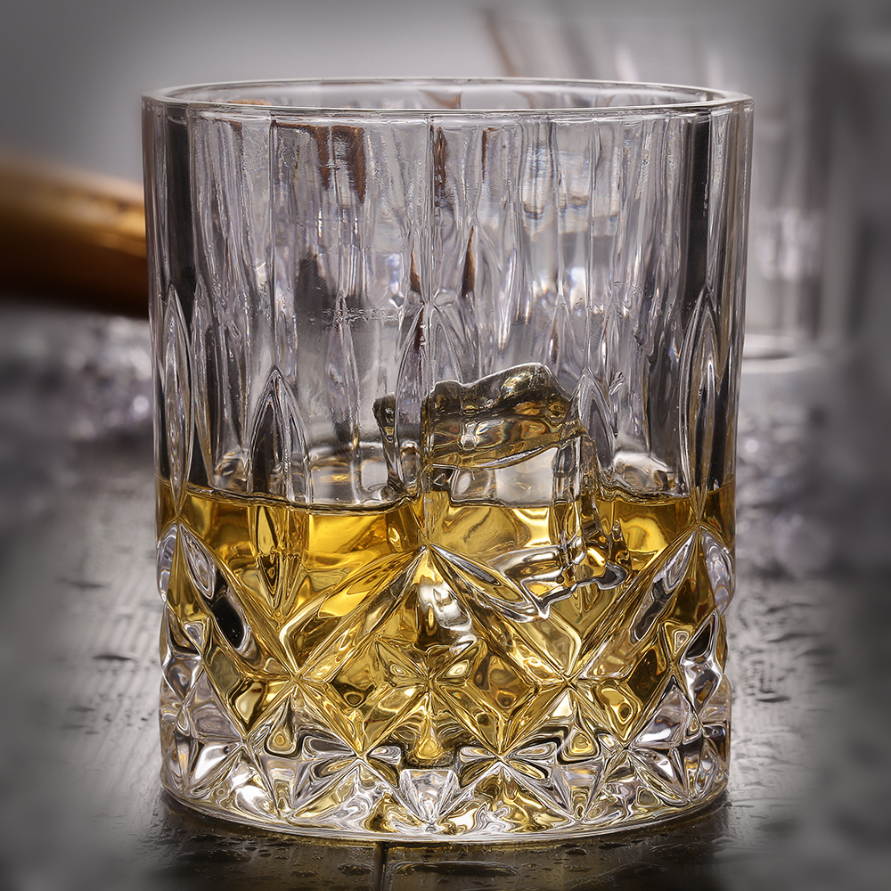 250ml Diamond Bottom Round Genuine Whisky Brandy Glasses For Wedding Party Home Bar Hotel Restaurant Decoration