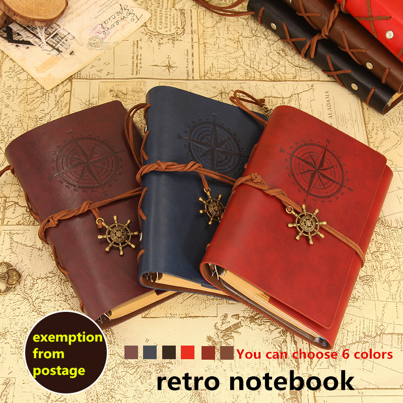 A6 Genuine leather notebook travelers journal agenda handmade planner notebooks vintage diary caderno sketchbook school supplies blank kraft paper cover spiral notebook journal diary planner sketchbook notepad caderno office school material escolar supplies