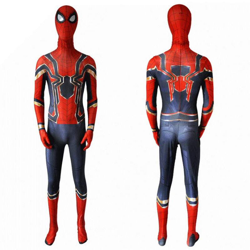 Halloween Christmas Carniva Spiderman in steel Cosplay costume Conjoined tights Play the costume cosplay  high quality