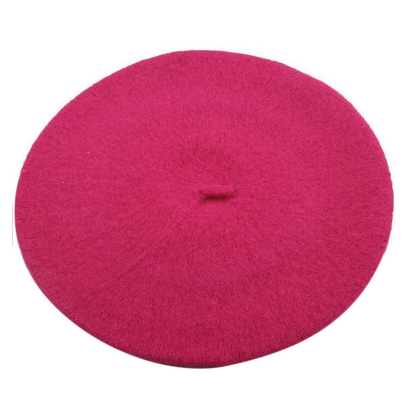 Новинка, женская зимняя шапка, берет, женская шапка из смеси шерсти и хлопка, 16 цветов, новые женские шляпы, шапка s, черная, белая, серая, розовая, Boinas De Mujer - Цвет: Hot Pink