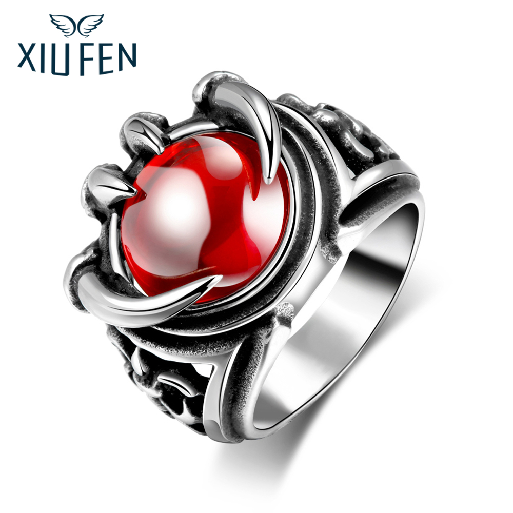 XIUFEN Ring 316L Stainless Steel Men Vintage Jewelry Red Beads Modelling Rings For Black Friday AndXmas Birthday Gift ZK30