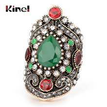 Kinel Hot Green Vintage Wedding Rings For Women Antique Gold New Fashion Gray Crystal Turkey Jewelry Big Size 7-12 Luxury Gift