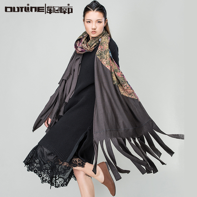 Outline Original Design Tassel Scarf Autumn Winter Flower National Trend All-match Tassel Women Fashion Scarf L154W001