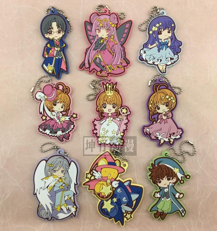 KINOMOTO SAKURA Anime CARDCAPTOR SAKURA Tomoyo Daidouji Japanese Rubber Keychain clear a4 self adhesive transparent vinyl label tag sticker for laser printer 2 to 15 sheets