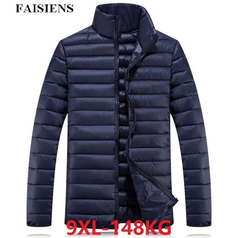 FAISIENS Autumn Winter Warm Men Parkas Plus Large Size Big Sportwear <font><b>6XL</b></font> <font><b>7XL</b></font> 8XL <font><b>9XL</b></font> Casual Down Parkas Thin Light Black Jackets image