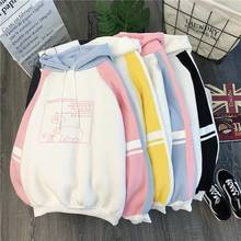 Women Plush Cute Bear Print Hoodie Long Sleeve  Hoody Female  Sweatshirts Loose Size Lovely Cotton Treetwear Top Spring Clothes