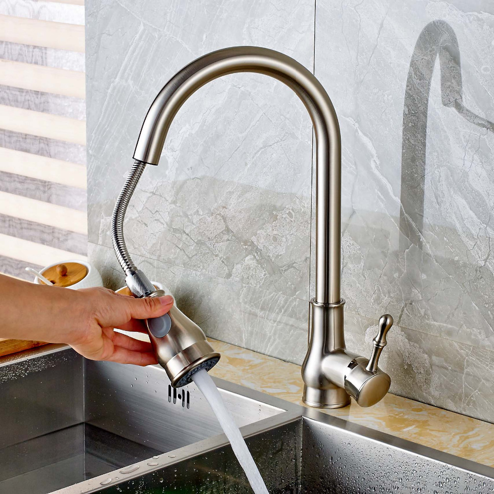 ФОТО Modern Fashion Nickel Brushed Pull Out Spout Deck Mount Kitchen Faucet Swivel Spout Mixer Tap