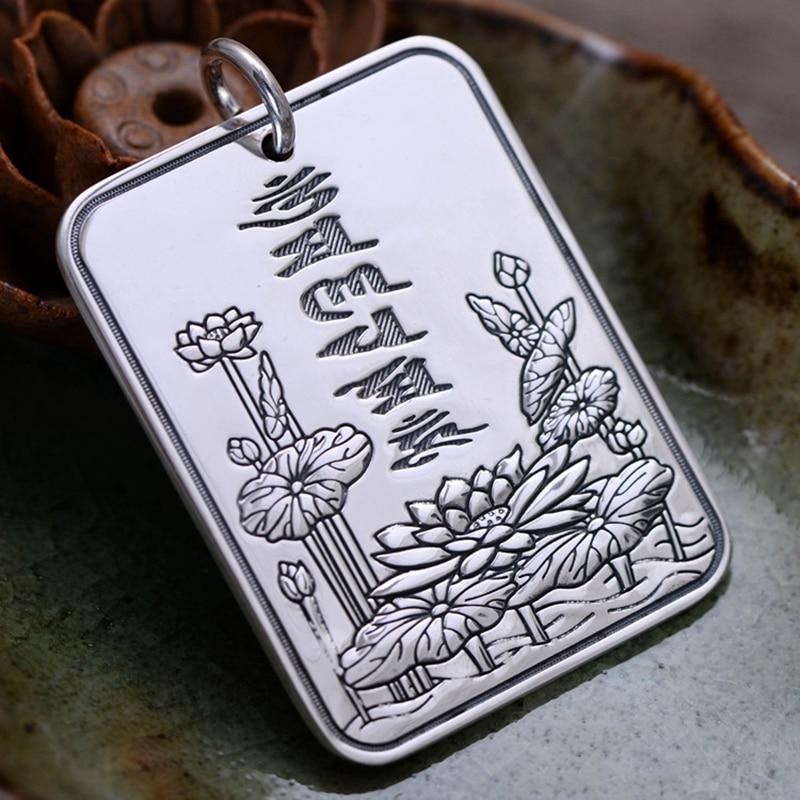 все цены на 999 Sterling Silver Six Words Pendant Vintage Style Lotus Engraved Mantra Scripture Om Mani Padme Hum Jewelry Wholesale
