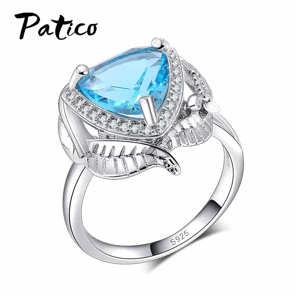 PATICO 925 серебро Обручение кольца для Женская мода голубое сердце Любовь Обещание перстни листьев Юбилей на день рождения