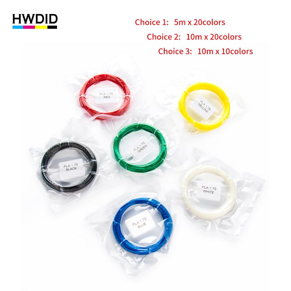 HWDID 10 color 20 color 3D Pen Filament PLA 1.75mm Plastic Rubber Printing Material for 3D Printer for 3D Pen handles 5m 10m 1 75mm pla 3d printer filament printing refills 10m