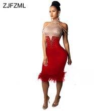 b198e16854d ZJFZML brillant strass Sexy moulante robe femmes hors de l épaule plume  conception gaine robe