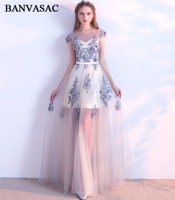 BANVASAC Illusion O Neck A Line Lace Flowers Appliques Backless Long Evening Dresses Party Sash Tulle Prom Gowns