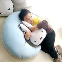 High Quality PP Cotton Stuffed Blue Moon Cushions Kids Super Soft Sleeping Rabbit Pillows Bunny Toy