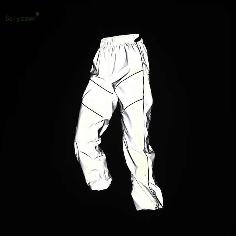 2019 春の女性のルースストライプ反射カーゴパンツ女性原宿グレーのズボンとポケットストリートジョギング