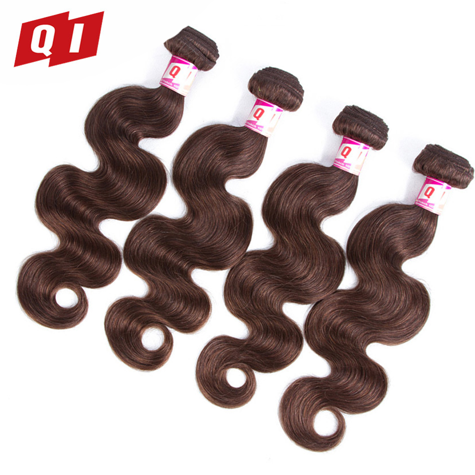 QI Hair #4 Hair Weaving Bundles Products Body Wave Hair Weave 4 Bundles 100% Peruvian Non Remy Human Hair Extensions