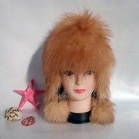 Nuovo inverno Genitore-bambino Argento pelliccia di volpe cappello signora caldo lavorato a maglia berretti volpe cappello di pelliccia vera lana fodera femminile in vera pelle cappello di pelliccia