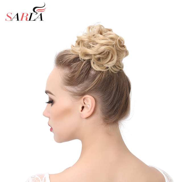 SARLA 100Pcs Messy Hair Ring Extensions Rubber Band Hair Chignons Synthetic Scrunchy Scrunchie Hair Bun Updo Hairpiece H2