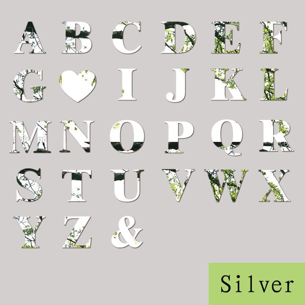 10cm 26 Letters Silver Mirror Wall Sticker Acrylic