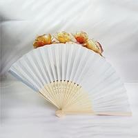 65pcs Elegant White Folding Silk Hand Fan with Organza Gift bag Wedding Gift & Party Favors(white)