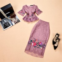 2018 Euramerican Spring Summer New Fashion Exquisite Embroidery Gauzy Lace Elegant Lady HIgh Quality Popular 2 Pieces Skirt Set
