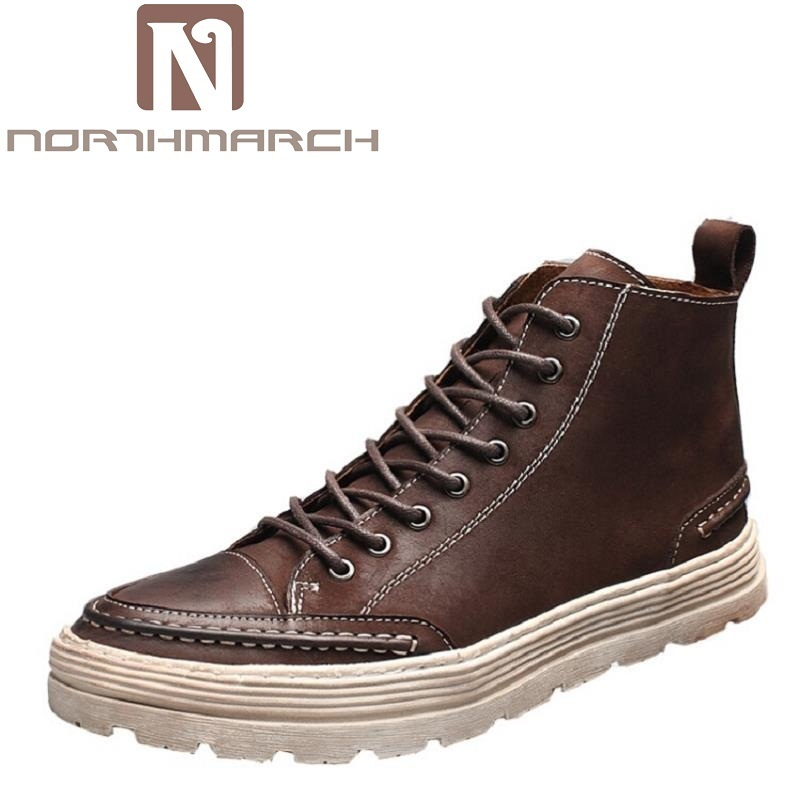 NORTHMARCH Men Ankle Boots Fashion Autumn Footwear Genuine Leather Mens Shoes Lace Up Casual New Short Boot Brown Bota Militar z suo men s shoes the new spring and autumn ankle leather casual shoes fashion retro rubber sole lace mens shoes zsgty16066