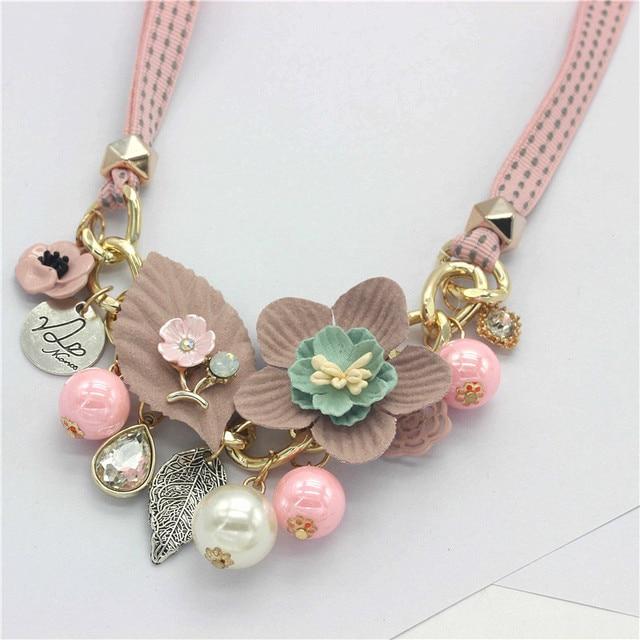 Olaru Brand Korea New Jewelry Fashion Cloth Imitation Flower Pearl Choker Neckalce Woman Maxi Statement Necklace Accessories 4