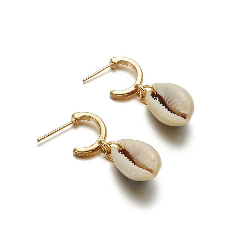 Bohemia Sea Shell Anting-Anting untuk Wanita Warna Emas Logam Kerang Cowrie Laporan Anting-Anting 2019 Musim Panas Pantai BoHo Fashion Perhiasan