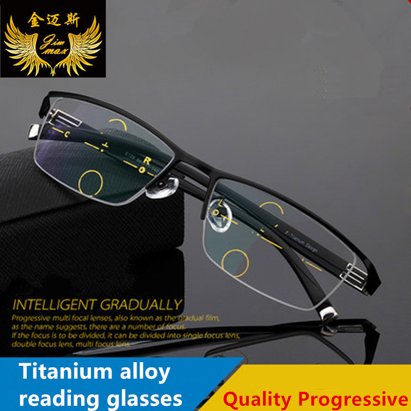 2017 New Men's Titanium Alloy Quality Progressive Reading Glasses Fashion Half Rim Classic Multifocal Prebyopia Glasses for Men